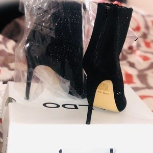 Aldo peep toe sequin bootie. Never worn